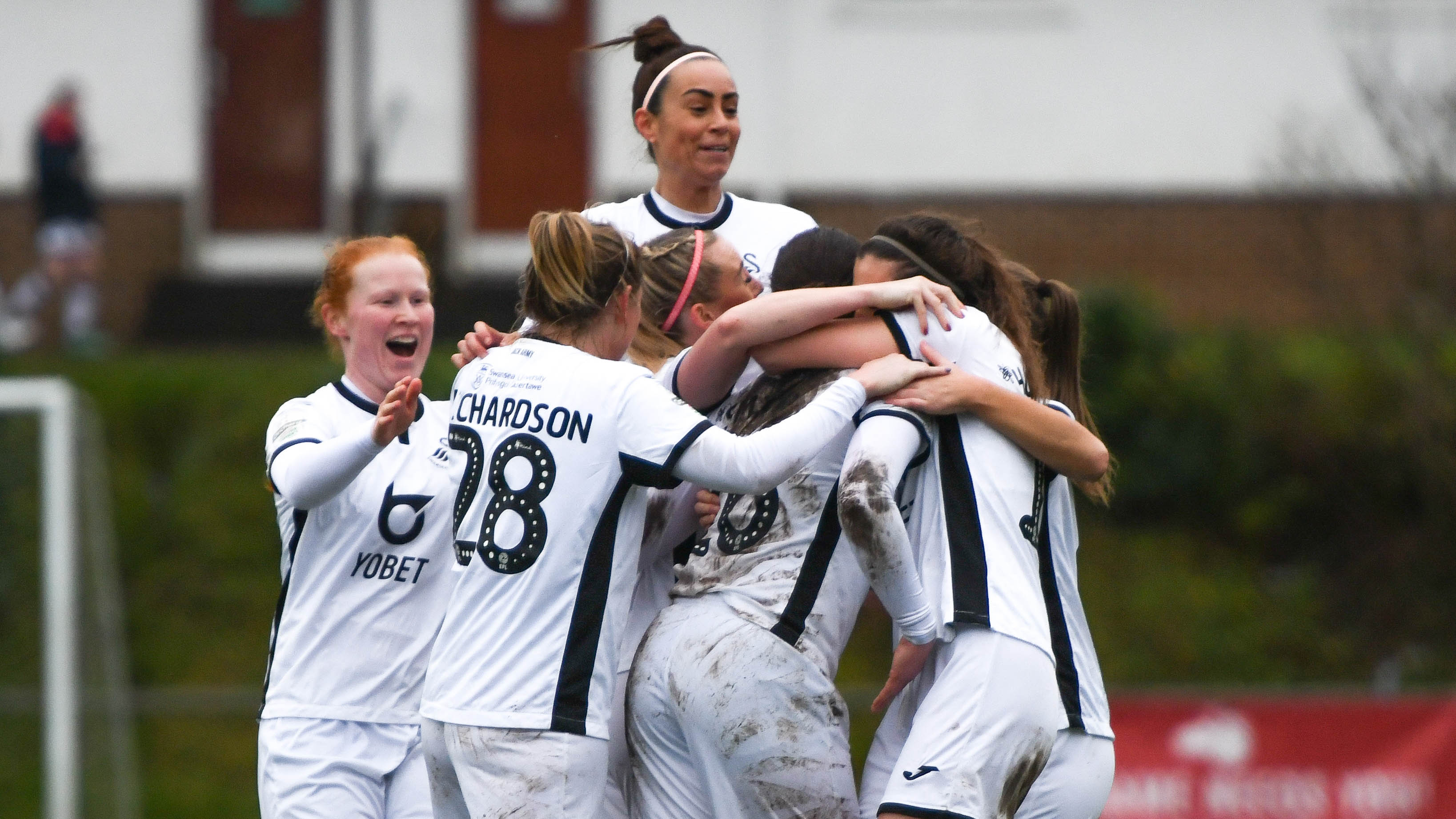 Swansea City Ladies celebrate a goal