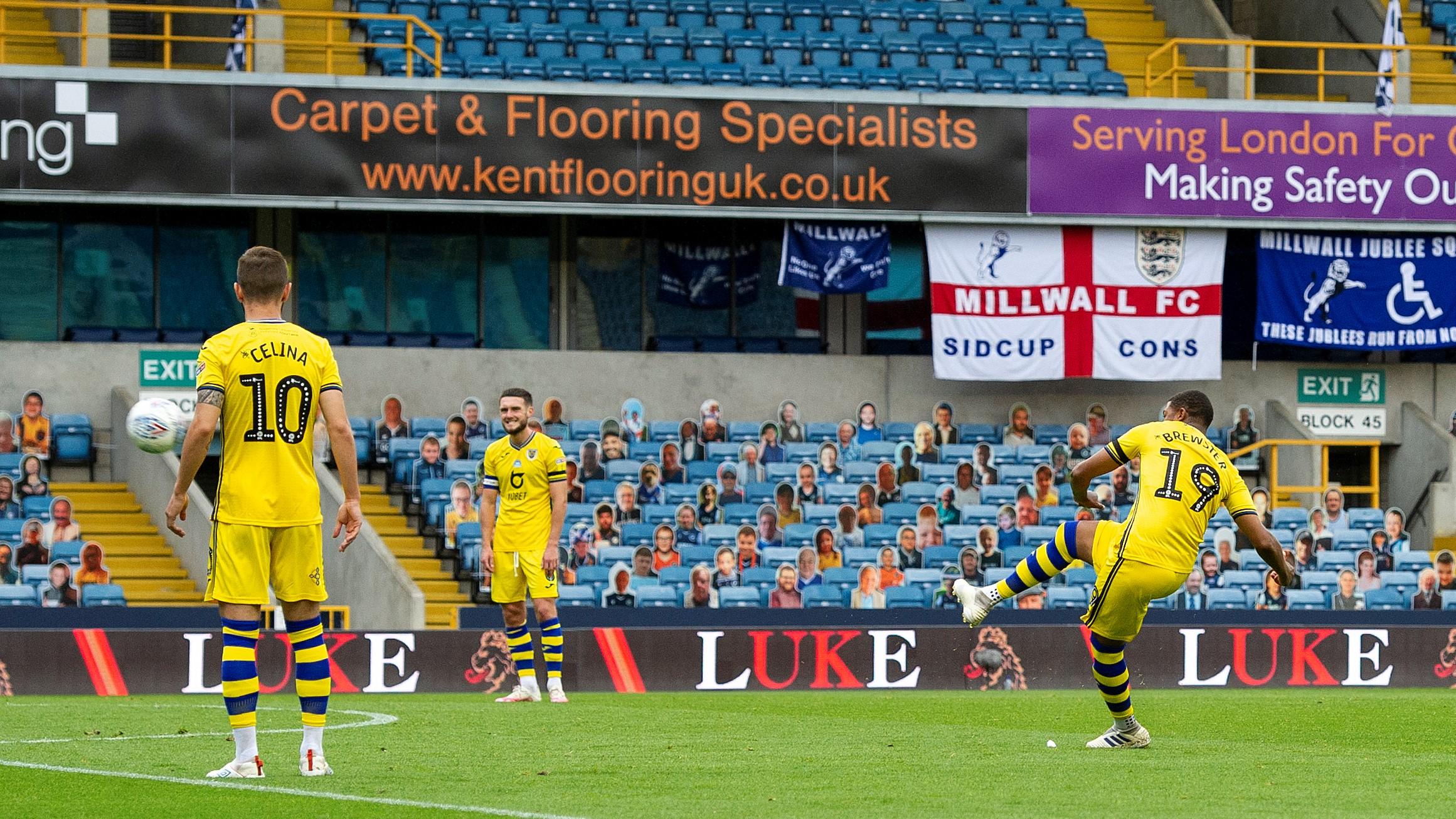 Millwall Brewster free-kick