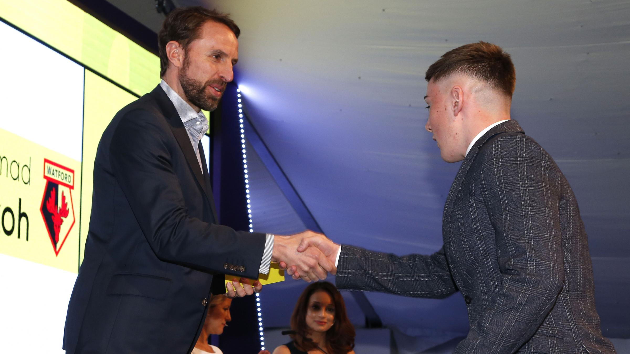 Daniel Williams with England manager Gareth Southgate.